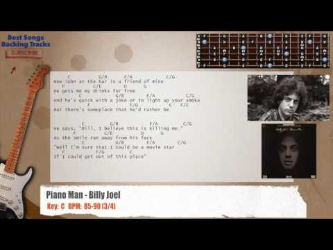 Piano Man - Billy Joel Guitar Backing Track with chords and lyrics