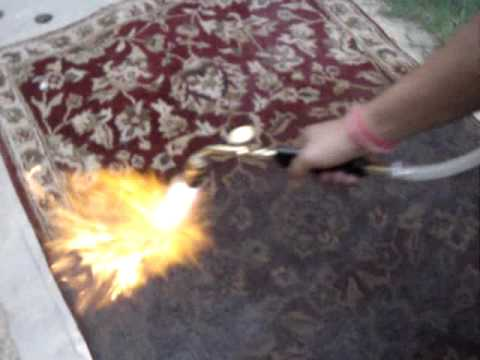 Antique Carpet Fire Blast New Rug to look Old Rug - YouTube