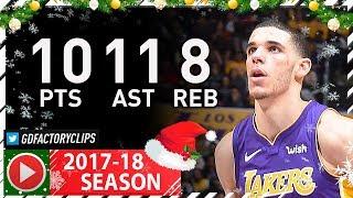 Lonzo Ball Full Highlights vs Trail Blazers (2017.12.23) - 10 Pts, 11 Ast, 8 Reb