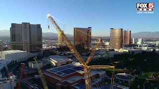 580-foot tall crane arrives at MSG Sphere site in Las Vegas