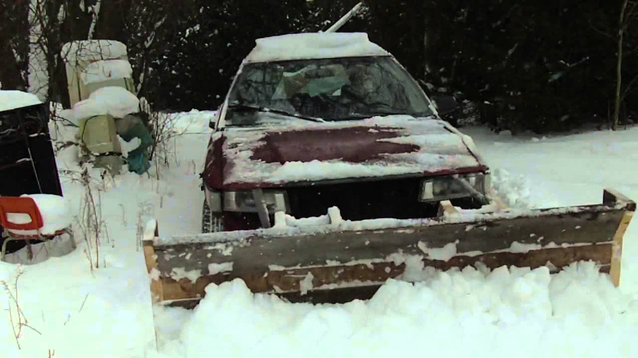 Homemade Wooden Snow Plow on a Toyota Corolla 4x4 YouTube