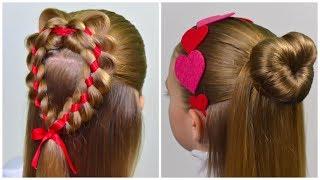 2 Beautiful Hairstyles with Hearts ❤ Valentines Day Hairstyle ❤ Easy hairstyles for girls #66