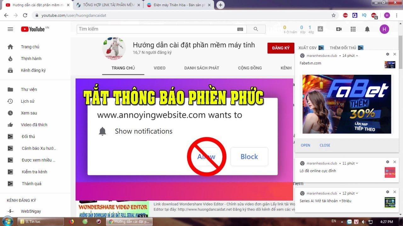 Hướng dẫn tắt thông báo trên Google Chrome khi lướt web