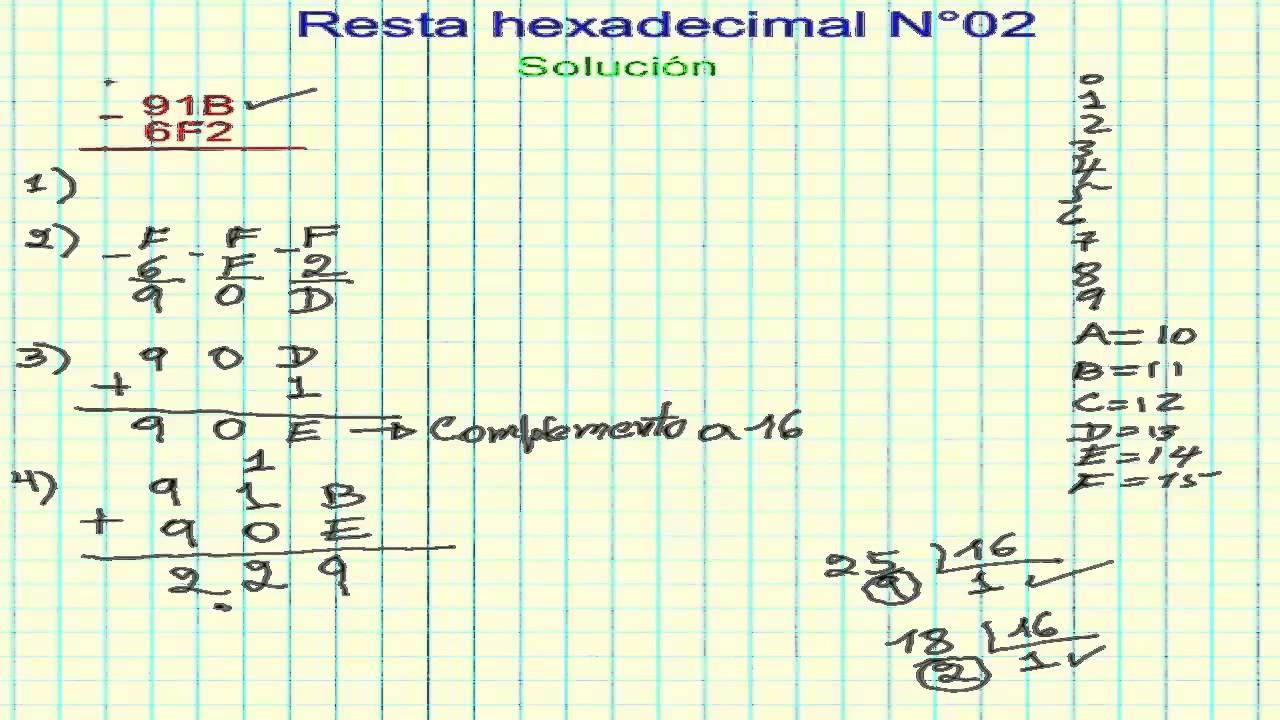 Resta hexadecimal N 02  Complemento a 16   YouTube