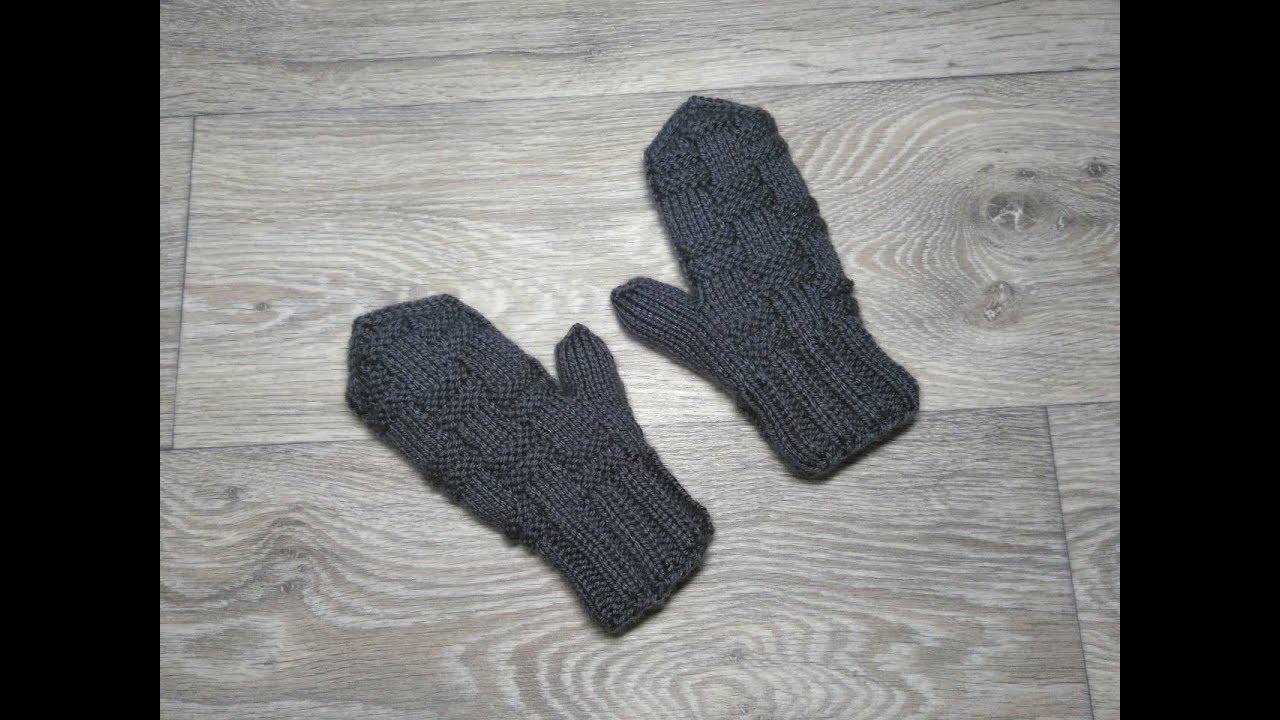 Двойные детские варежки (рукавицы) узором