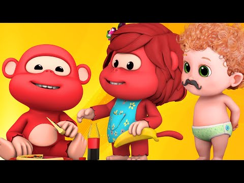 Five Little Monkeys Jumping On The Bed Nursery Rhyme - Ultra HD 4K - rhymes and baby songs for kids