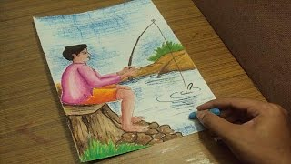 How to Draw a Boy Fishing on the Bank of a River