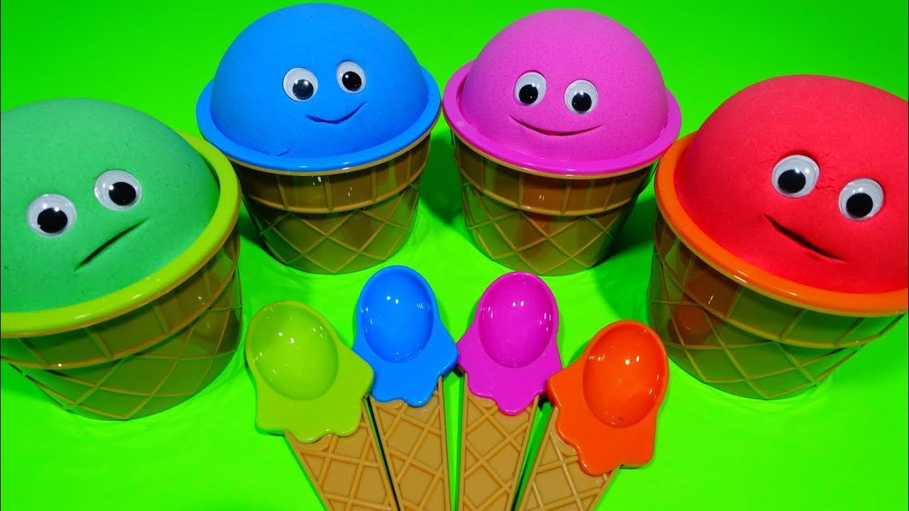 4 Colors Play Doh Ice Cream Cups Learn Numbers Nursery Rhymes Toys Chupa Kinder Surprise Toys Eggs