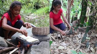My Natural Food Find meet Bamboo shoot to Cook grill on the rock for food Eating delicious 51