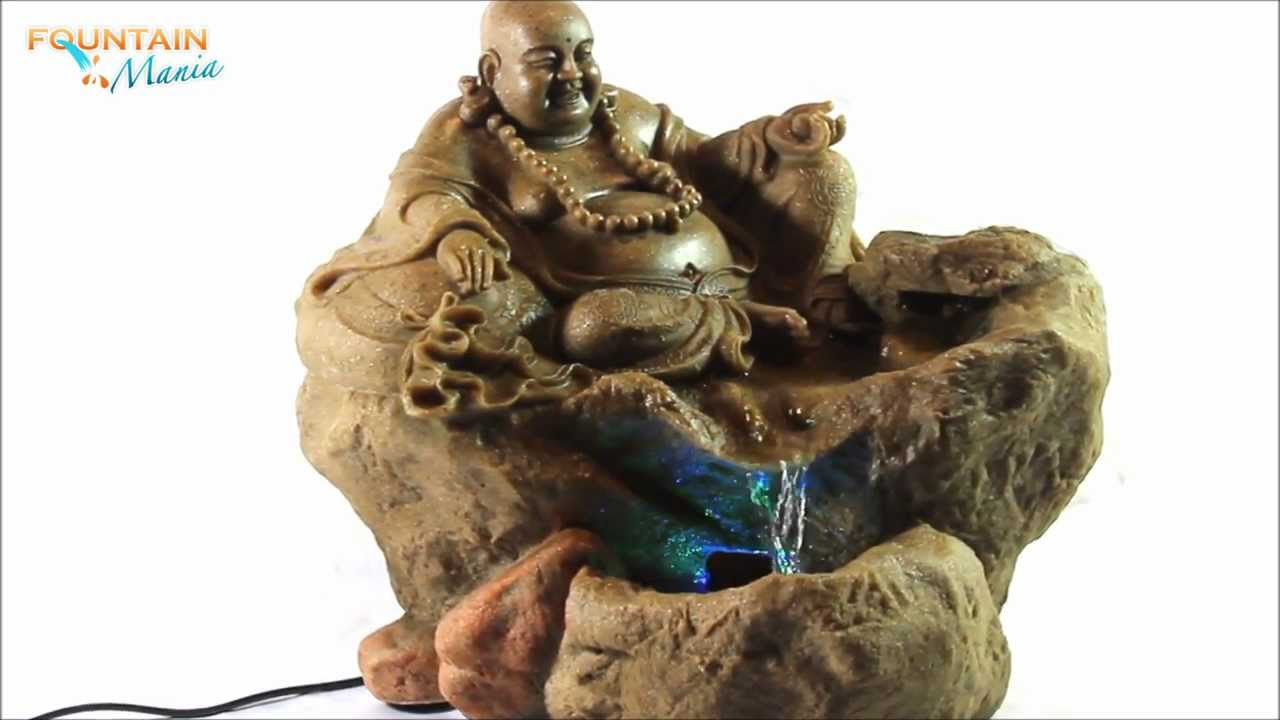 Lucky buddha sitting on rock with led light indoor water fountain lucky buddha sitting on rock with led light indoor water fountain fountainmania youtube workwithnaturefo