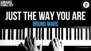Bruno Mars - Just The Way You Are Karaoke SLOWER Acoustic Piano Instrumental FEMALE / HIGHER KEY