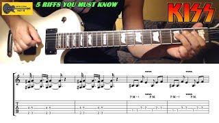 KISS Guitar Riffs - Top 5 - with TABS / SHEET - Best KISS Guitar Riffs