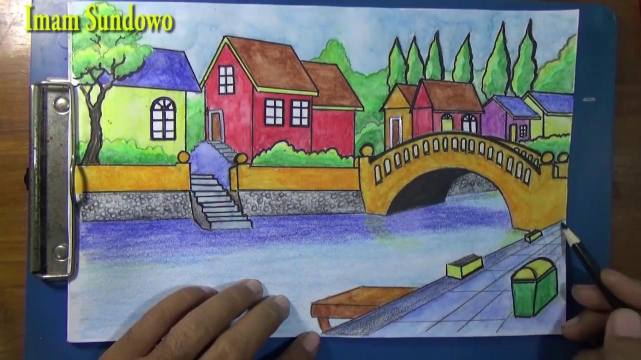 Speed drawing landscape village  menggambar cepat