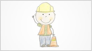 How to draw Community Helpers - Construction Worker for kids