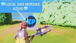 FORTNITE LOCALIZAÇÃO  DE TODAS AS MOEDAS AZUIS DE XP DA SEMANA 3 TEMPORADA 3  | LOCAL  MOEDA AZUL