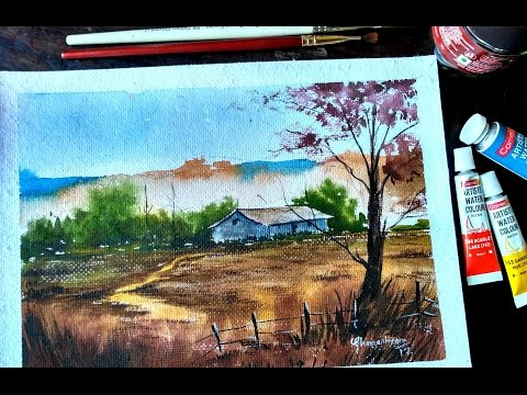 Watercolor Painting | Village Landscape | step by step | Paint with david