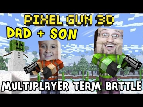 Dad & Son play Pixel Gun 3D: Heaven Garden Map (Multiplayer Server Team Battle) iOS Face Cam