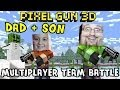 Dad Son play Pixel Gun 3D Heaven Garden Map Multiplayer Server Team Battle iOS Face Cam