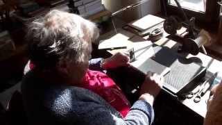 Návštěva knihařské dílny Jendy Rajmana - unikátní šicí stroj na šití knih