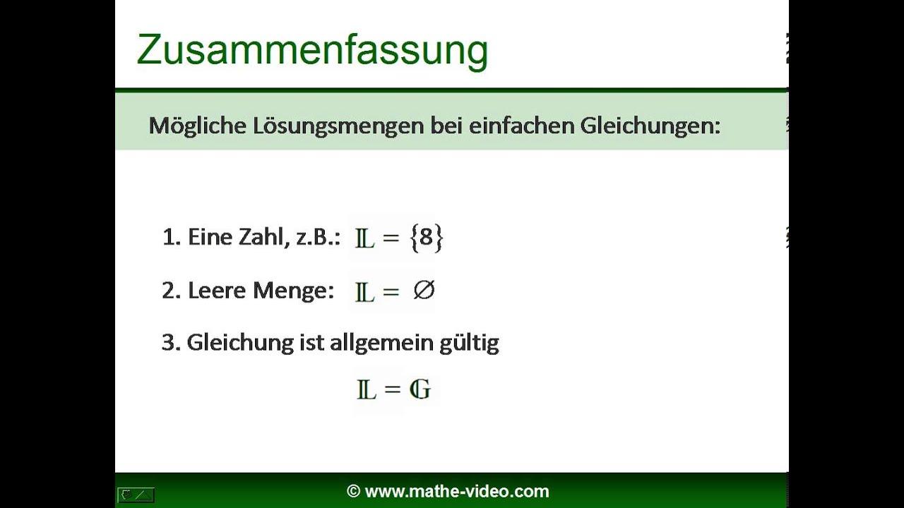 Lösungsmenge bei Gleichungen und Ungleichungen - Erklärung anhand ...