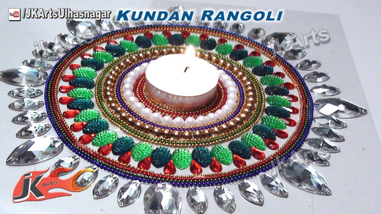 Diy how to make kundan rangoli rhinestone candle holder for Home made rangoli designs