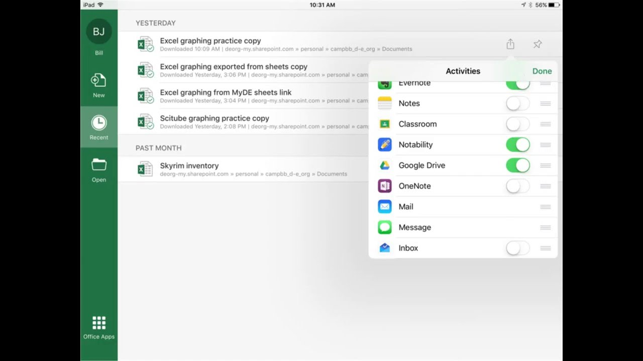 Export iOS Excel to Google Drive