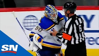 Jordan Binnington Goes After Philipp Grubauer As Avalanche \u0026 Blues Get Rough After Final Whistle