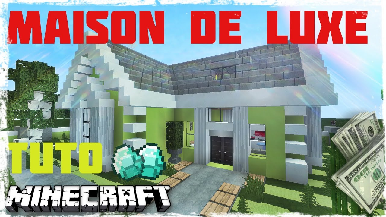 tuto minecraft comment faire une maison moderne de luxe. Black Bedroom Furniture Sets. Home Design Ideas