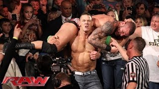 John Cena and Randy Orton brawl outside the ring: Raw, Jan., 20, 2014