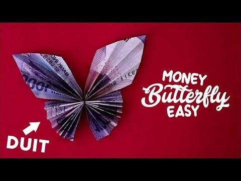 CARA MELIPAT UANG MENJADI KUPUKUPU CANTIK  how to fold money butterfly tutorial origami