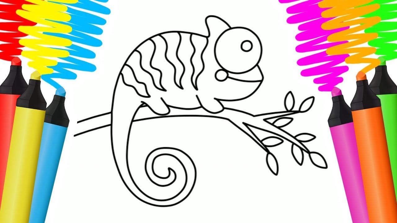 como desenhar e colorir camaleÃo e cola pintar e aprender para