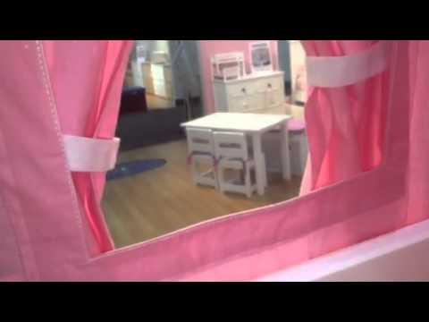 Pink Princess Low Loft bed with slide