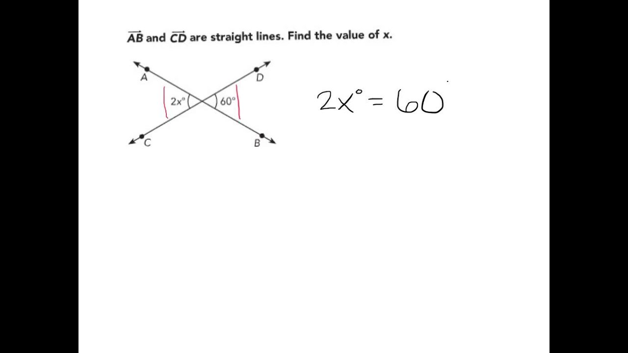 Use Algebra To Solve Problems Involving Vertical Angles