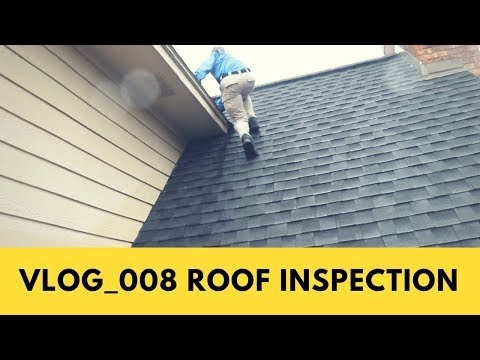 The importance of getting on a roof for a roof inspection. Home Inspector Climbs roof