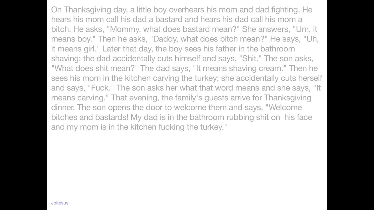Uncategorized Lil Johnny Jokes jokes on thanksgiving day a little boy overhears his mom and dad fighting he hears call