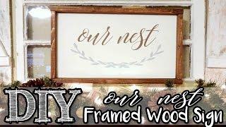 framed wood sign   our nest