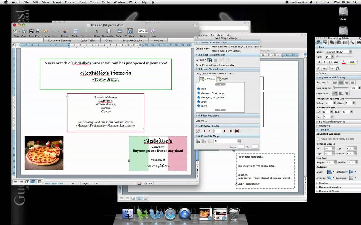mac word 2008 mail merge