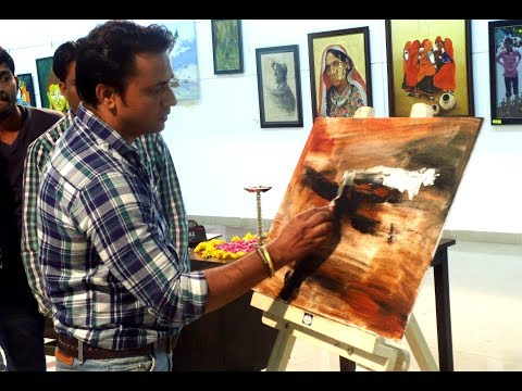 Abstract painting / Compilation of 2 back to back live demos in Art Exhibition / India