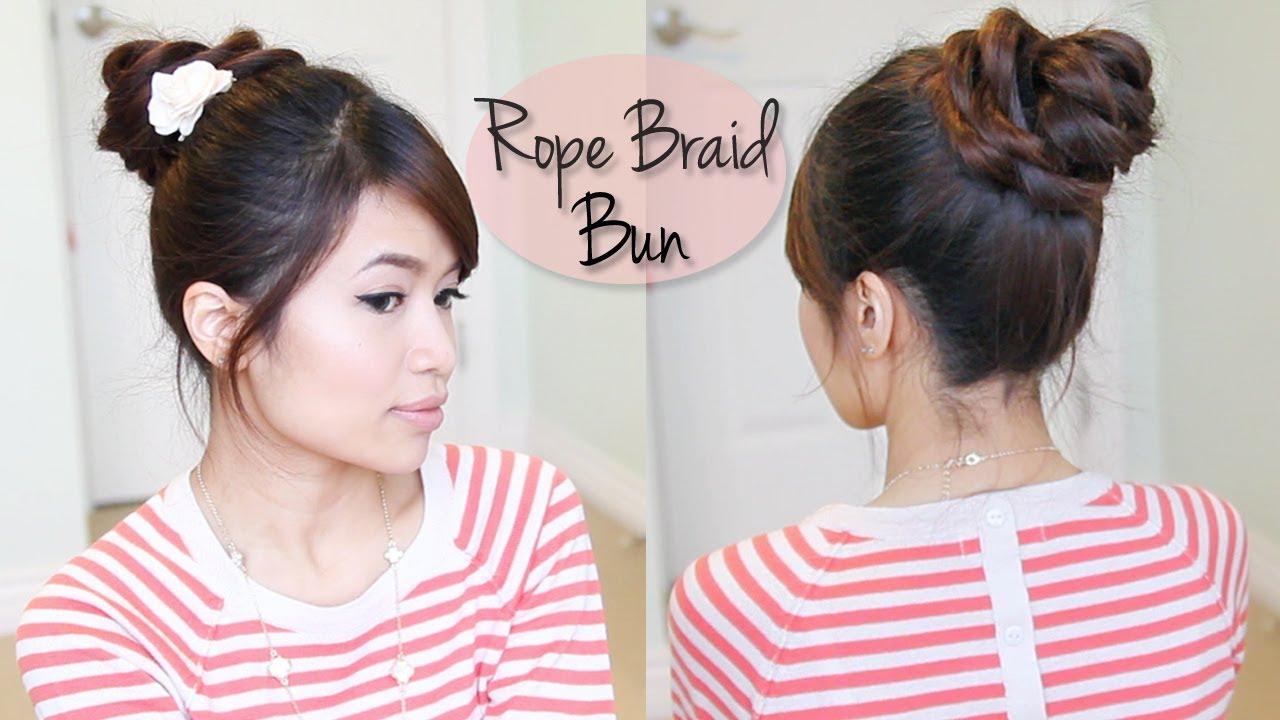 Rope Braid 3d Flower Bun Updo Hairstyle For Medium Long Hair