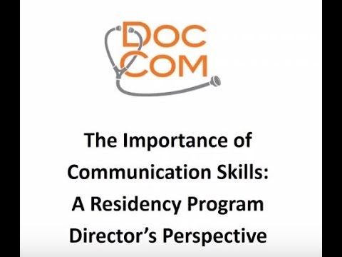 The Importance of Communication Skills - A Residency Program Director's Perspective