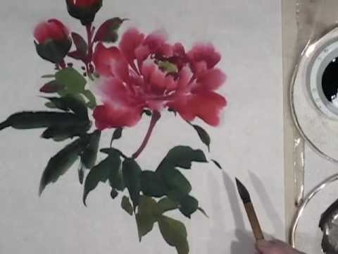 Peony Demo Part 2 Of 3 Leaves In Sumi E Chinese Brush