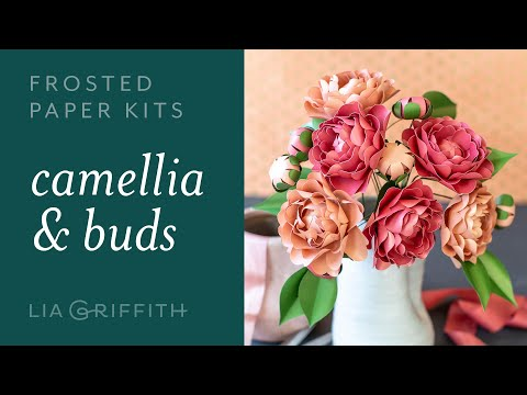DIY Camellia Flower with Frosted Paper: Easy to Use Paper Flower Kit for Beginners (full tutorial)