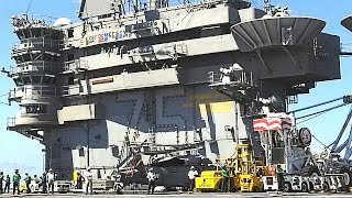 SUPERCARRIER ARRESTING CABLES get a workout! (USS Truman FLIGHT OPERATIONS, Atlantic Ocean.)