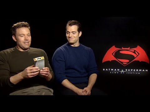 Ben Affleck & Henry Cavill smell Batman v Superman aftershave for the first time