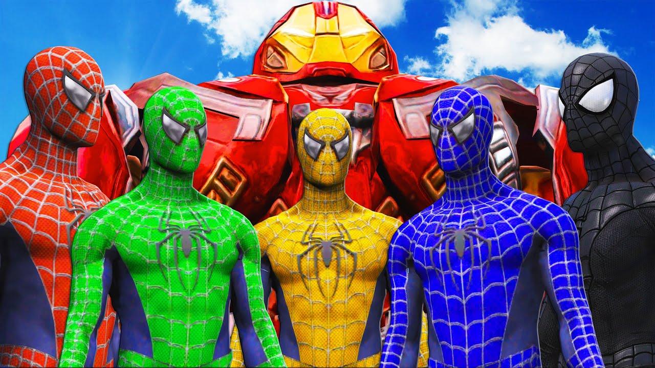 Spider-Man, Green Spiderman, Blue Spiderman, Yellow Spiderman, Black Spiderman VS Hulkbuster