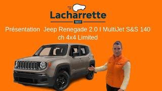 🚙Présentation Jeep  Renegade 2.0 I MultiJet S&S 140 ch 4x4 Limited de 2015 et 53000Kms VO 23827 🔥