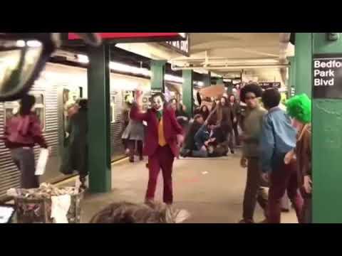 Joaquin Phoenix on set as the Joker