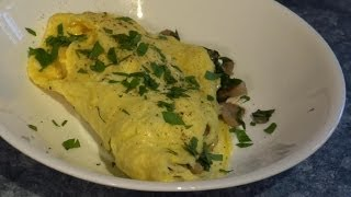 Spinach Mushroom Omelet with Sun Dried Tomato Goat Cheese