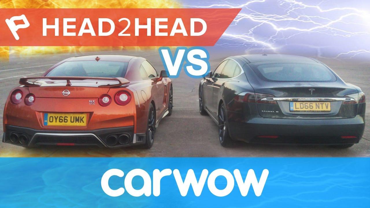 2017 Nissan Gt R Vs Tesla Model S Gasoline Electric Acceleration Challenge Head2head You