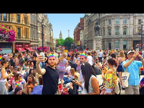 Pride in London 2017 at Trafalgar Square - Walking in London